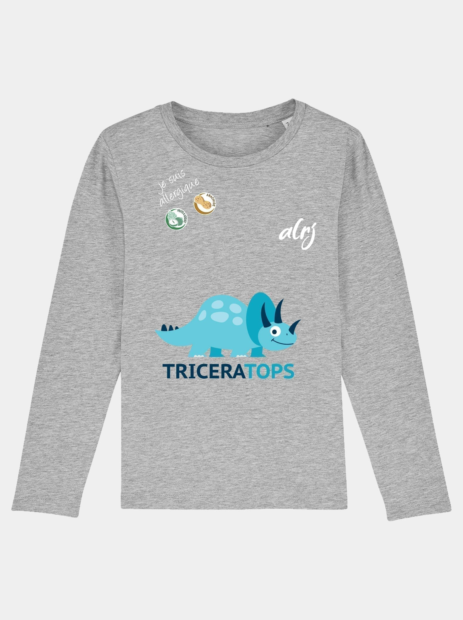 t-shirt manche longue triceratops allergies alimentaires gris chiné